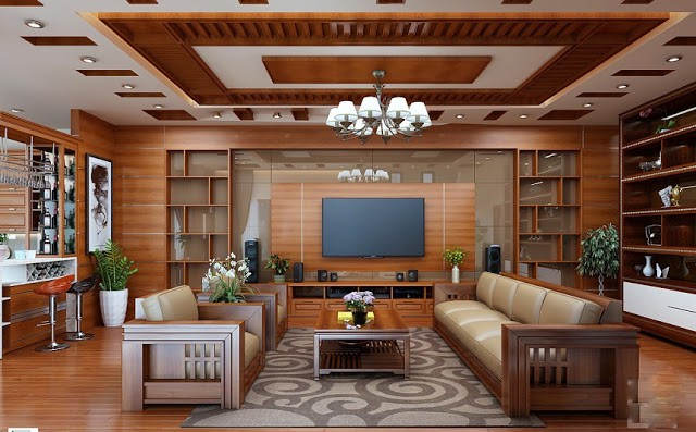 Nội thất bằng gỗ phòng khách hợp phong thủy 1996