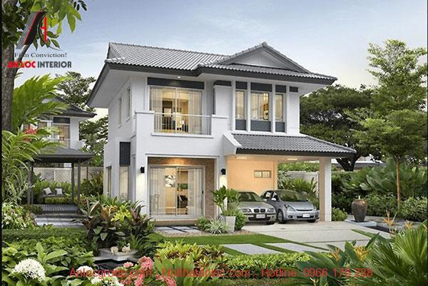 Mẫu biệt thự vườn 2 tầng kết hợp với màu xanh của cỏ cây tạo nên môi trường sống dễ chịu, gần gũi với tự nhiên
