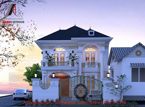 Chọn màu trắng sơn ngoại thất kết hợp với mái thái đậm mang đến sự cân bằng ấn tượng