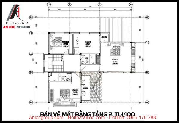 Bản vẽ biệt thự 2 tầng mái thái hiện đại với phòng ngủ, khu vực thư giãn của gia đình