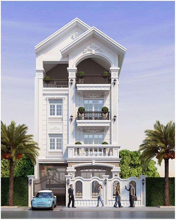 Mẫu biệt thự 4 tầng đơn giản đi kèm với gara để xe rộng rãi