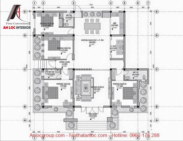 Bản vẽ mặt bằng biệt thự 1 tầng mái thái 4 phòng ngủ