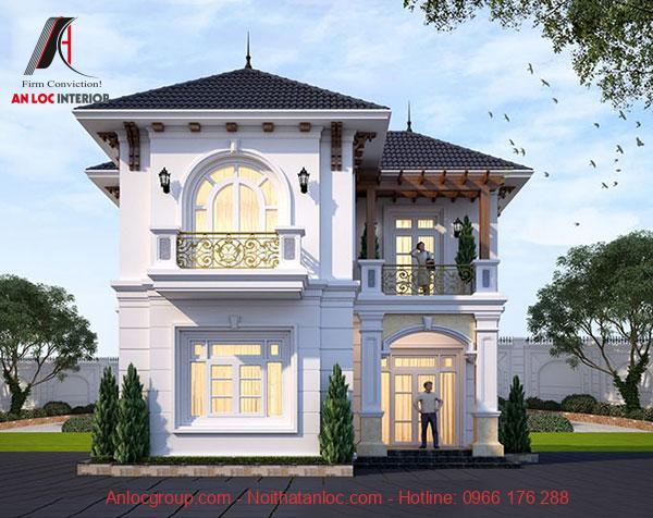 Thiết kế biệt thự 2 tầng tân cổ điển kết hợp với hình vòm đặc trưng