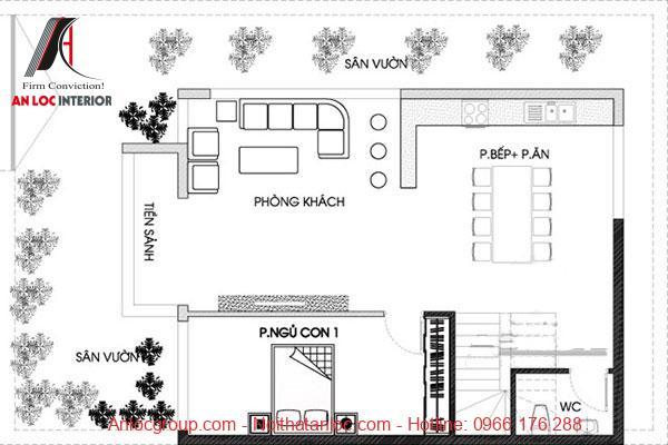 Bản vẽ tầng 1 biệt thự mini 80m2