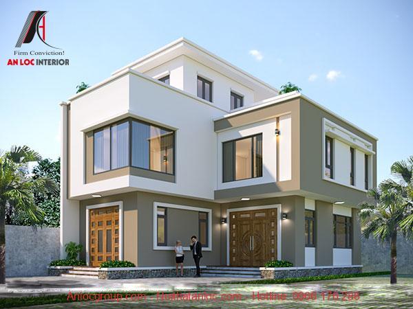 Thiết kế biệt thự mini 2 tầng 80m2 sử dụng mái bằng chắc chắn