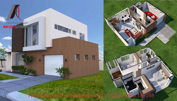 Căn biệt thự 2 tầng mái bằng hiện đại với sự phối hợp màu sắc ấn tượng