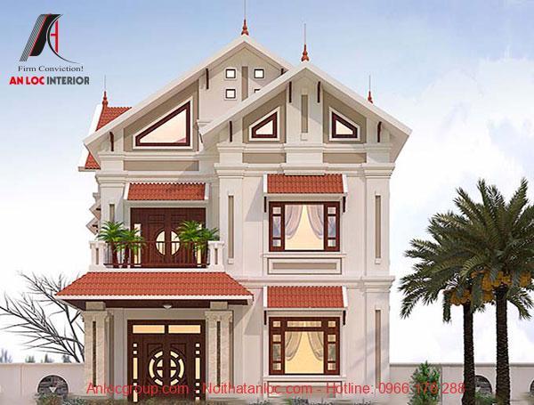 Mẫu biệt thự 2 tầng mái thái hiện đại với màu sắc thu hút mọi ánh nhìn