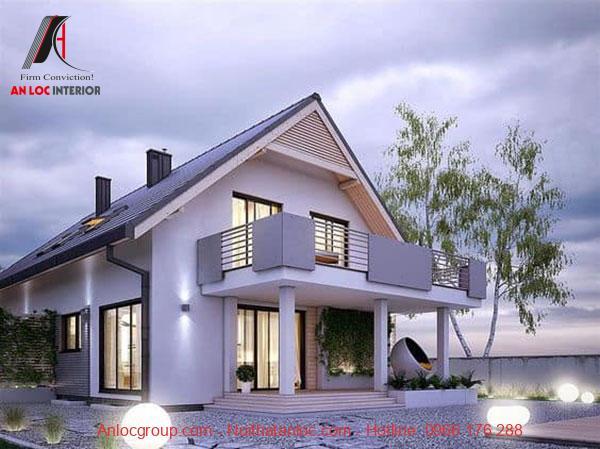 Biệt thự mini 2 tầng có 3 phòng ngủ với thiết kế phần sân rổng rãi