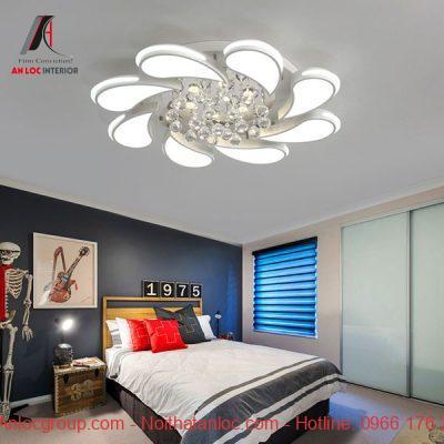 Mẫu đèn chùm phòng ngủ đẹp bằng bát ngọc
