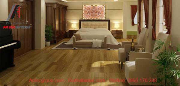 Nội thất phòng ngủ hài hòa với sàn nhà