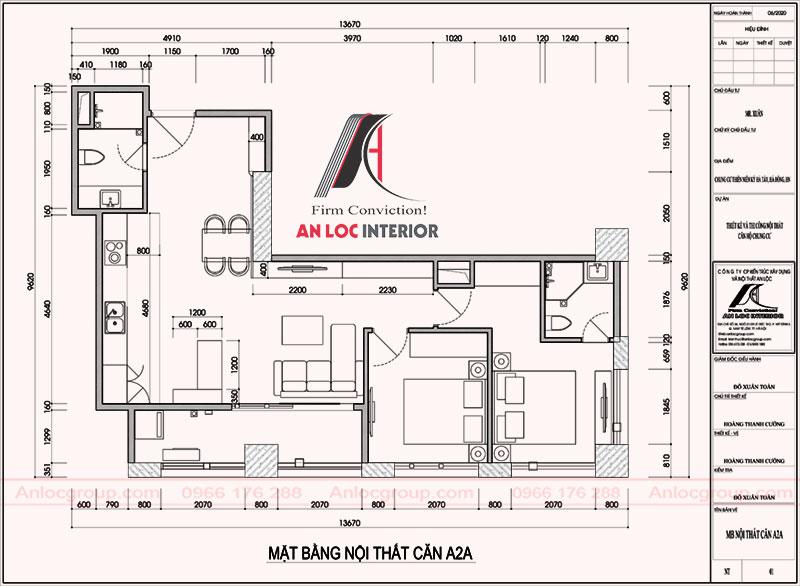 Mặt bằng căn hộ A2A 65m2 tại Tháp Thiên Niên Kỷ