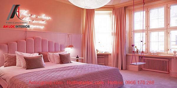 Phòng ngủ màu hồng hợp tuổi Giáp Tuất