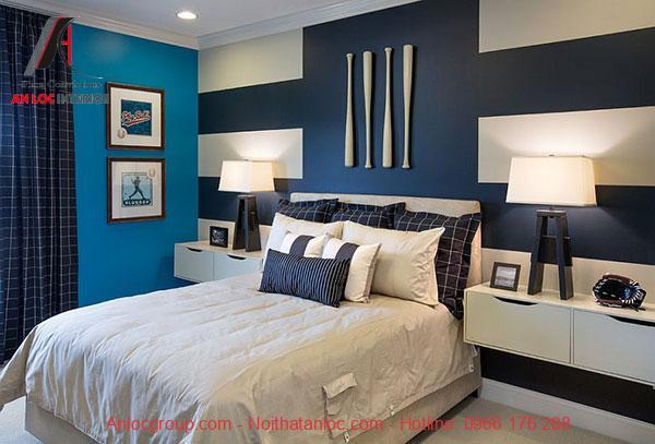 Mẫu thiết kế nội thất phòng ngủ có gam màu xanh đen hợp tuổi Mậu Thân