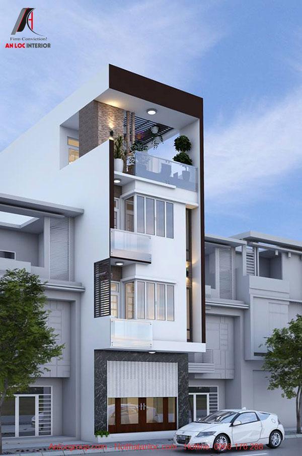 Mặt đứng nhà phố sử dụng kiến trúc lệch tầng độc đáo, cuốn hút