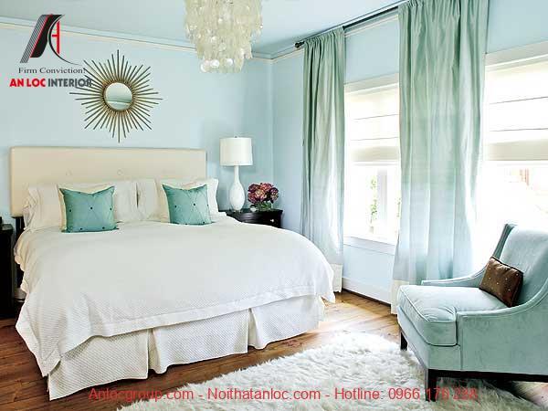Phòng ngủ màu xanh nhẹ hợp phong thủy tuổi Bính Tý