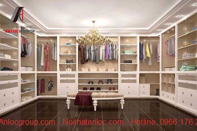 Phòng thay đồ có sự kết hợp phong cách tân cổ điển và hiện đại
