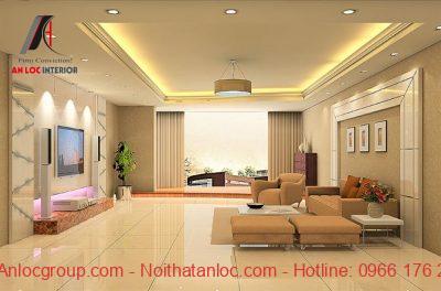Phòng khách màu vàng gỗ