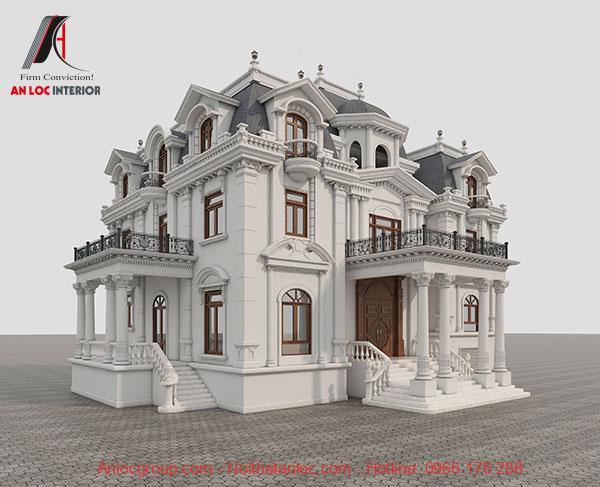 Mẫu biệt thự cổ điển 3 tầng đẹp có phần mái là linh hồn trong tổng thể kiến trúc