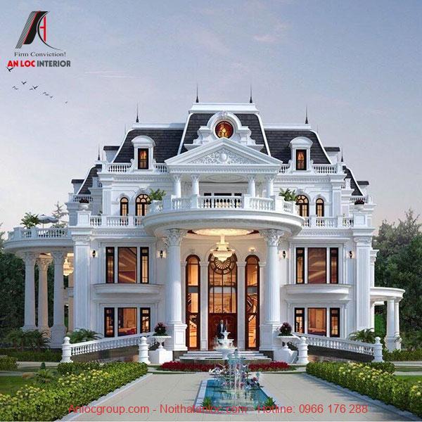 Thiết kế sân vườn biệt thự hài hòa với bố cục tổng thể tạo nên sự cân abừng về màu sắc