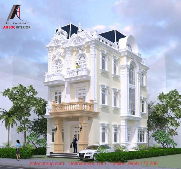 Mẫu biệt thự phố tân cổ điển có mặt tiền ấn tượng và phối hợp màu sắc tinh tế. Cách thiết kế họa tiết ấn tượng, tạo sức hút từ cái nhìn đầu tiên