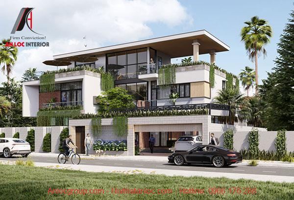 Thiết kế biệt thự phố 3 tầng đơn giản nhưng đáp ứng nhu cầu sinh hoạt. Phần thông tầng rộng rãi, thông thoáng mà vẫn cân bằng phong thủy