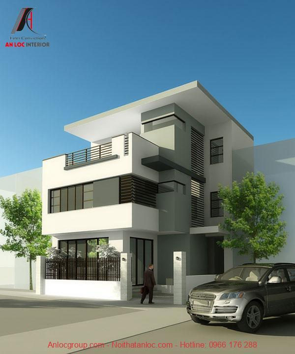 Thiết kế biệt thự nhà phố mái bằng được trang bị thêm cây xanh tạo cảm giác dễ chịu, thoải mái