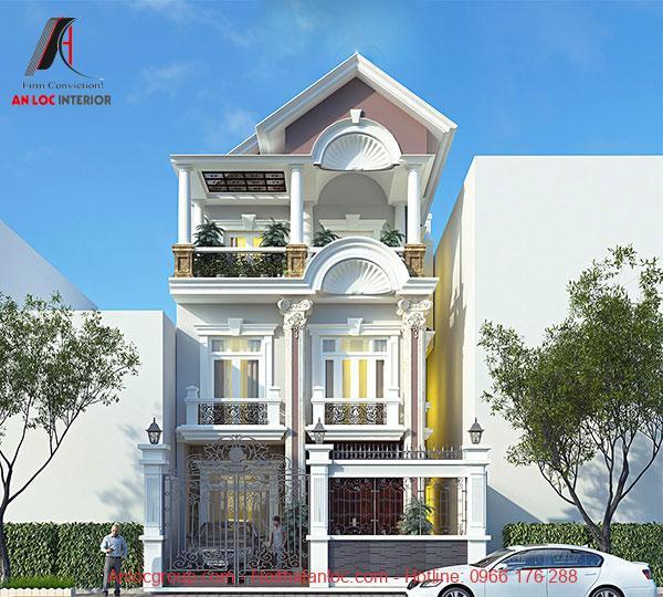 Thiết kế biệt thự phố tân cổ điển kết hợp với cách bố trí màu sắc ấn tượng