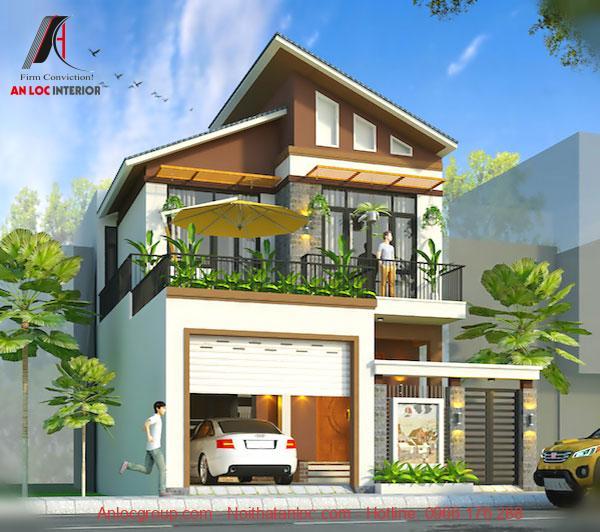 Mẫu biệt thự nhà phố mái lệch có gara ô tô rộng rãi . Điểm nhấn là màu xanh tự nhiên được trải đều khắp căn nhà