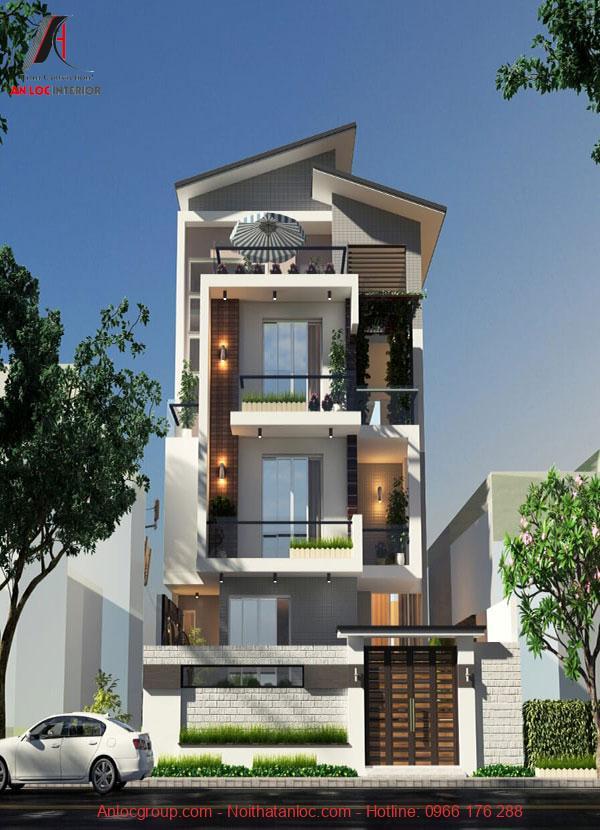 Thiết kế biệt thự phố với hệ thống đèn và cửa sổ lớn tạo nên sự sang trọng, hiện đại