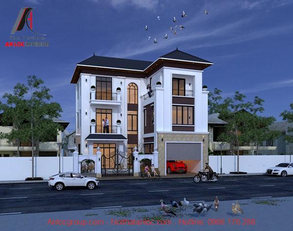Biệt thự mái thái với mái lợp xanh thẫm kết hợp sơn ngoại thất trắng