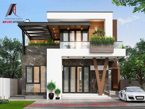 Mẫu biệt thự phố 2 tầng hiện đại sử dụng các ô cửa lớn. Phần thông tầng biệt thự nhà phố có thể làm không gian sinh hoạt, vui chơi giải trí