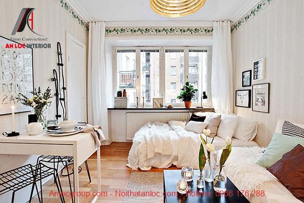 Ánh sáng thiên nhiên được tận dụng tối đa cho căn hộ mini thêm ấn tượng, tràn ngập sức sống