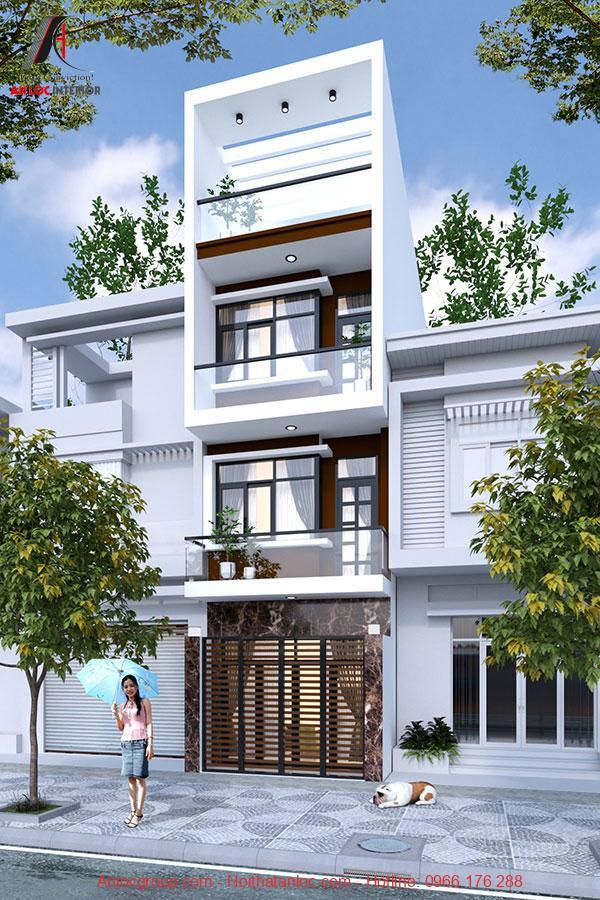 Thiết kế nhà 3 tầng 1 tum bố trí đơn giản. Màu sơn ngoại thất tinh tế, tạo nên ấn tượng khó phai