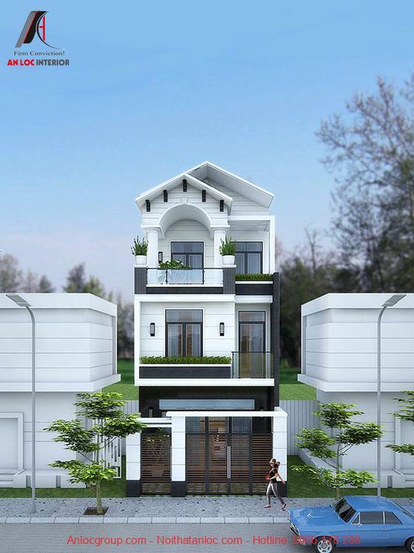 Thiết kế nhà 3 tầng 5x15 có mặt tiền ấn tượng