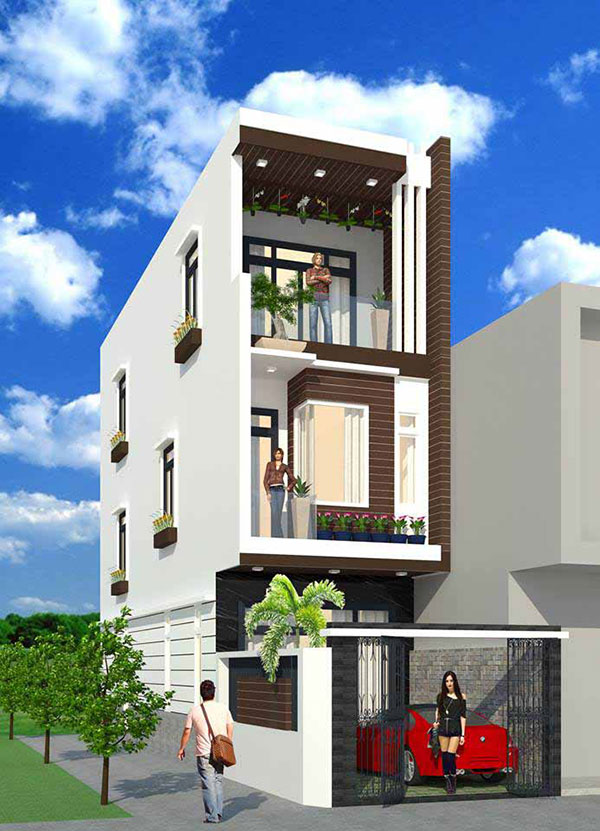 Mẫu thiết kế nhà 3 tầng 5x10m có gara được bố trí tinh tế, khoa học.