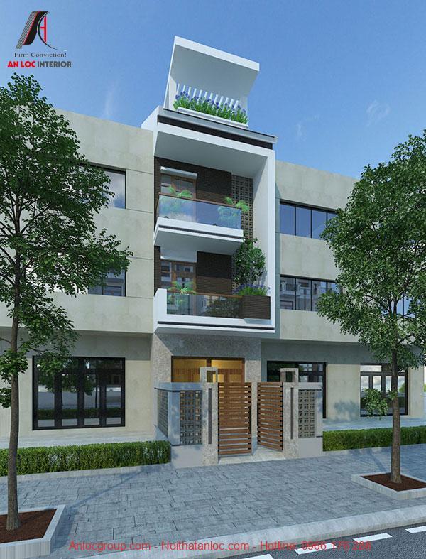 Mẫu nhà 3 tầng 1 tum với khu vực tầng tum để trồng cây xanh, tổ chức buổi sinh hoạt ấn tượng