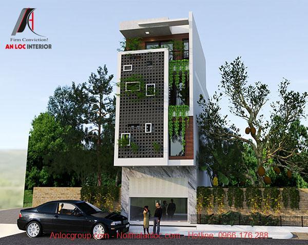 Phối cảnh nhà phố 3 tầng với mặt tiền 5m có thể tạo điểm nhấn. Tạo các lỗ hổng và màu xanh tự nhiên tạo điểm nhấn hiệu quả