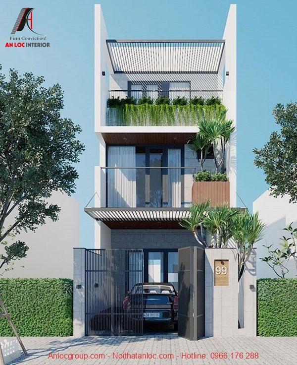 Thiết kế nhà 3 tầng 50m2 có gara kết hợp với cây xanh trang trí ở các tầng