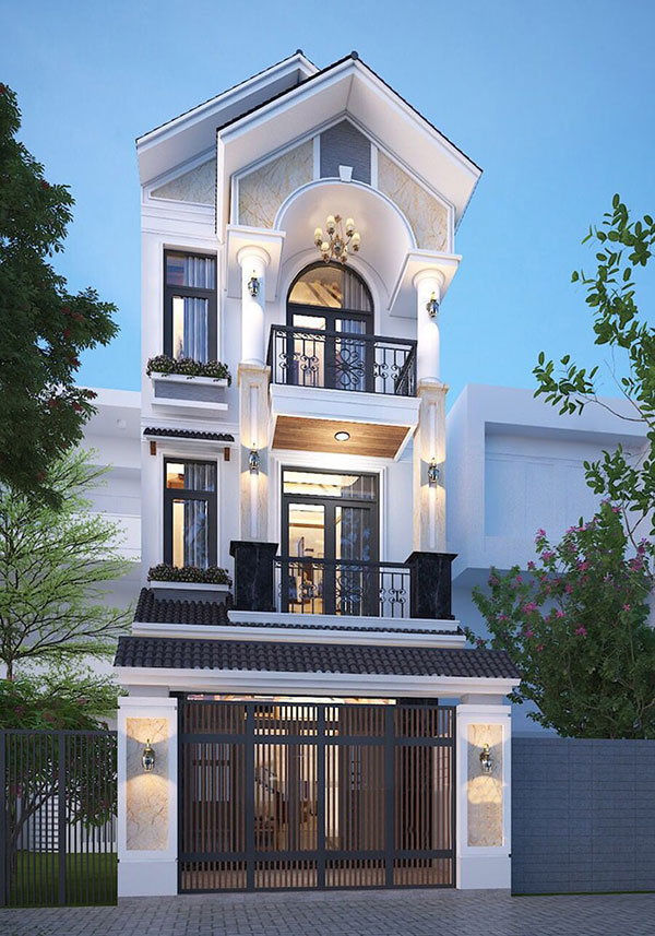 Mẫu nhà 5x10m 3 tầng mái thái sử dụng sơn ngoại thất độc đáo
