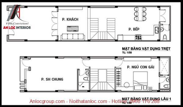 Bản vẽ mẫu nhà 5x10m 3 tầng với công năng tầng trệt và tầng 1 đáp ứng như cầu sinh hoạt