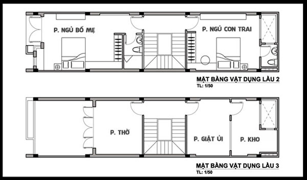 Bản vẽ thiết kế nhà 5x10 gồm 2 phòng ngủ và phòng sinh hoạt chung