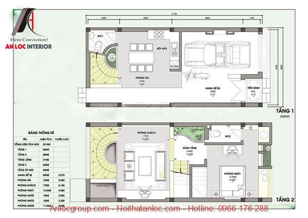 Bản vẽ thiết kế nhà 5x10 độc đáo và tỉ mỉ với các thông số chi tiết