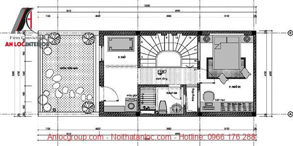 Mẫu nhà 3 tầng hiện đại với tầng tum sử dụng trông cây xanh và khuôn viên thư giãn