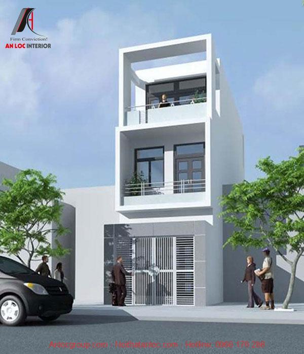 Bản vẽ thiết kế nhà phố 3 tầng được thiết dạng hình ống với mặt tiền rộng 5m