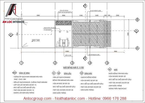 Mẫu thiết kế nhà 3 tầng 5x15m có phần mái rộng rãi thích hợp cho các hoạt đốnginh hoạt chung trong gia đình