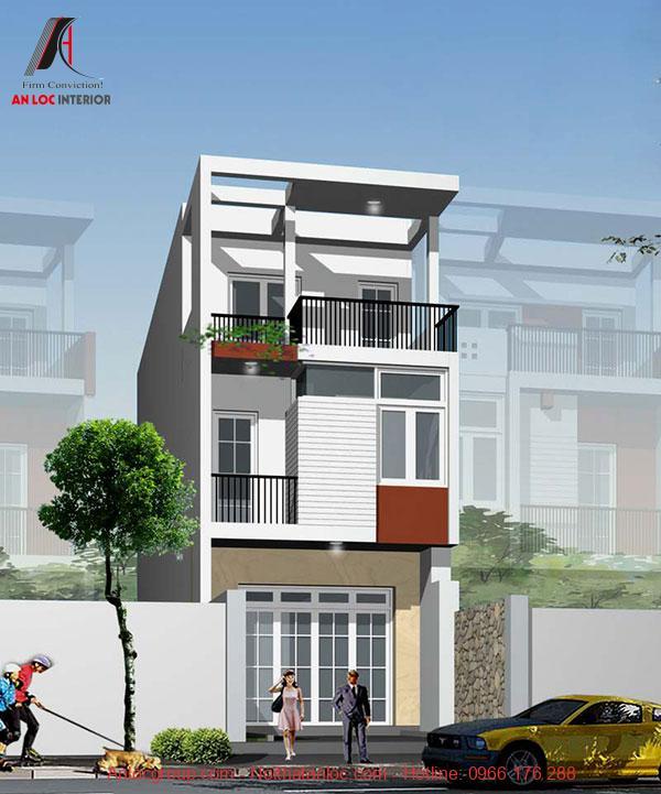Thiết kế nhà 3 tầng 5x15m sử dụng gam màu trung tính kết hợp gam đỏ tạo nên sự phá cách độc đáo