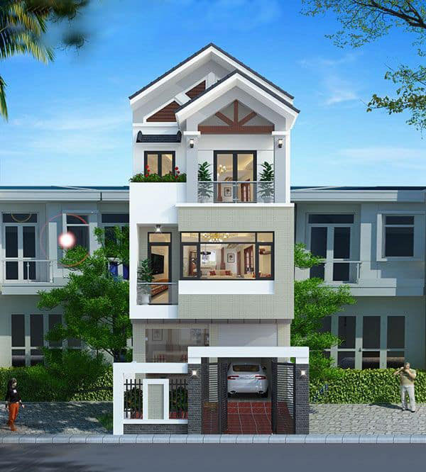 Thiết kế nhà 5x15 có gara được lựa chọn màu sắc hợp lý đi kèm với ngoại thất ấn tượng