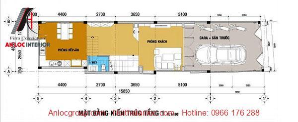 Bản vẽ thiết kế nhà 3 tầng 5x15m với tầng 1 rộng rãi, thoải mái