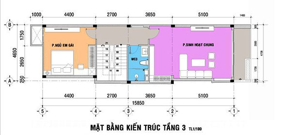 Bản vẽ thiết kế nhà 3 tầng 5x15m với tầng 3 rộng rãi, công năng được bố trí phù hợp