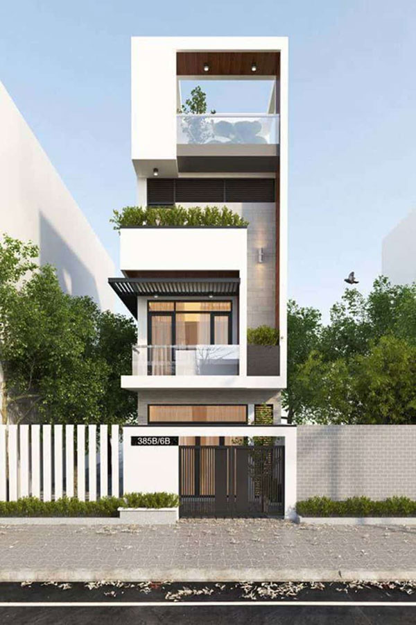 Kiểu nhà lệch tầng 5x15 được thiết kế tinh tế với cây xanh cùng nhưng khung cửa thoáng mát